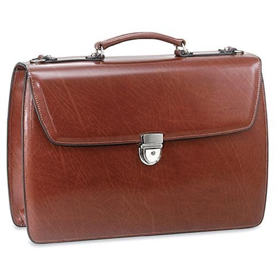 Jack Georges Elements Double Gusset Flap Over Briefcase in Cognac