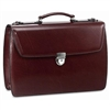 Jack Georges Elements Triple Gusset Flap Over Leather Briefcase in Burgundy
