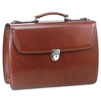 Jack Georges Elements Triple Gusset Flap Over Leather Briefcase in Cognac