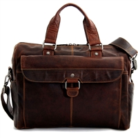 Jack Georges Voyager Top Zip Briefcase with Flap in Brown