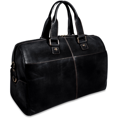 Jack Georges Voyager Leather Daybag Duffel in Black