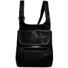 Jack Georges Voyager Slim Crossbody Messenger Bag in Black