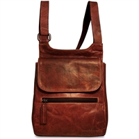 Jack Georges Voyager Slim Crossbody Messenger Bag in Brown