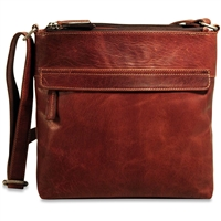 Jack Georges Voyager Top Zip Crossbody Bag in Brown