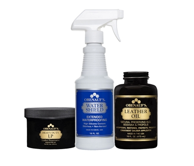 Bundle Package Containing: 8 ounce Heavy Duty LP, 16 ounce Leather Oil, 16 ounce Water Shield