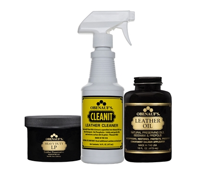 Leather Care Combo Containing: 8 ounce Heavy Duty LP, 16 ounce Leather Oil, 16 ounce Leather Cleaner