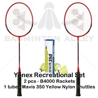 YONEX Basic 4000 Mavis 350 Yellow Medium Badminton Combo Set