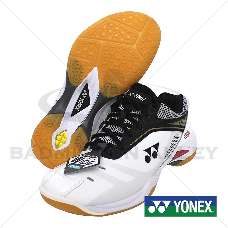 bf38d154eb6 ... Wide White Gold Badminton Shoes Larger Photo