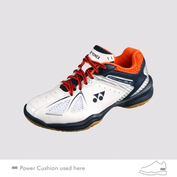 c77b5476aef Yonex Power Cushion 35 Junior White Orange Badminton Shoes Larger Photo