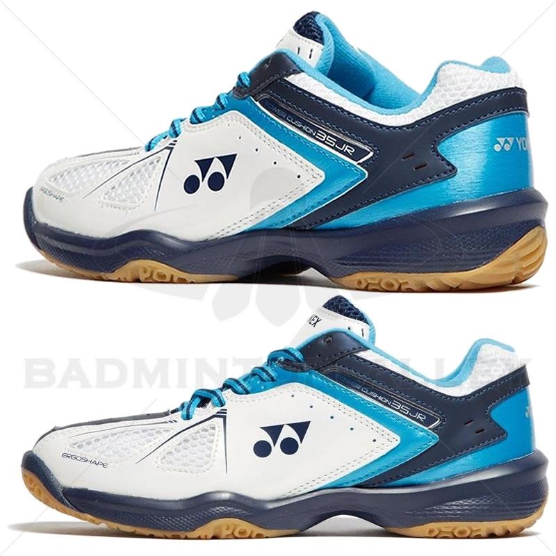 c475ef5d42f Yonex Power Cushion 35 Junior White Sky Blue Badminton Shoes