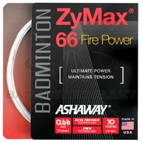 Ashaway ZyMax 66 Fire Power (0.66mm) Badminton String - White