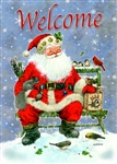 Santa Sitting With Birds Around Him. Welcome Printed Across The Top House Flag