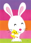 Fuzzy Bunny And Chick Toland Easter house flag. This flag is printed in the USA.