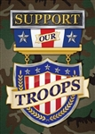 Support Our Troops Toland patriotic house flag. This flag is printed in the USA.