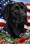 Black Lab In A Field Of Flowers With An American Flag Behind The Dog House Flag Art Work Is By Tamara Burnett