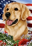 Golden Retriever In A Field Of Flowers With An American Flag Behind The Dog House Flag Art Work Is By Tamara Burnett