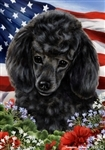 Black Poodle In A Field Of Flowers With An American Flag Behind The Dog Garden Flag Art Work Is By Tamara Burnett
