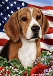 Beagle In A Field Of Flowers With An American Flag Behind The Dog Garden Flag Art Work Is By Tamara Burnett