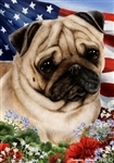 Fawn Pug In A Field Of Flowers With An American Flag Behind The Dog Garden Flag Art Work Is By Tamara Burnett