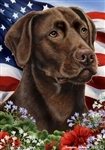Chocolate Labrador In A Field Of Flowers With An American Flag Behind The Dog Garden Flag Art Work Is By Tamara Burnett