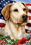 Yellow Labrador In A Field Of Flowers With An American Flag Behind The Dog Garden Flag Art Work Is By Tamara Burnett