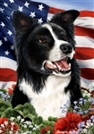 Border Collie In A Field Of Flowers With An American Flag Behind The Dog Garden Flag Art Work Is By Tamara Burnett