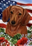 Red Dachshund In A Field Of Flowers With An American Flag Behind The Dog Garden Flag Art Work Is By Tamara Burnett