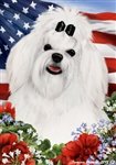 Maltese In A Field Of Flowers With An American Flag Behind The Dog House Flag Art Work Is By Tamara Burnett