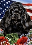 Black Cocker Spaniel In A Field Of Flowers With An American Flag Behind The Dog Garden Flag Art Work Is By Tamara Burnett