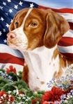 Brittany Spaniel In A Field Of Flowers With An American Flag Behind The Dog Garden Flag Art Work Is By Tamara Burnett