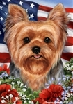 Puppy Cut Yorkie In A Field Of Flowers With An American Flag Behind The Dog Garden Flag Art Work Is By Tamara Burnett