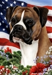 Fawn Uncropped Boxer In A Field Of Flowers With An American Flag Behind The Dog Garden Flag Art Work Is By Tamara Burnett
