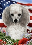 Silver Poodle In A Field Of Flowers With An American Flag Behind The Dog Garden Flag Art Work Is By Tamara Burnett