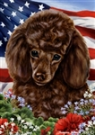 Chocolate Poodle In A Field Of Flowers With An American Flag Behind The Dog Garden Flag Art Work Is By Tamara Burnett