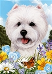 Westie In A Field Of Summer Flowers Garden Flag Art Work Is By Tamara Burnett