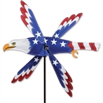 Patriotic Eagle Whirligig Garden Spinner whose wings spin in a gentle breeze. All hardware included.