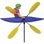 Lady Kayaker with yellow oars that spin in a gentle breeze. All hardware included.