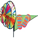 Flip Flops Garden Spinner with three wheels that spin in a gentle breeze. All hardware included.