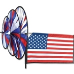 American Flag Triple Garden Spinner with three wheels that spin in a gentle breeze. All hardware included.