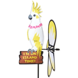 Cockatoo standing on a sign that states I'm On Island Time with a tail that spins in a gentle breeze. All hardware included.