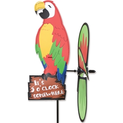 Party Macaw Spinner sitting on a sign that states It's 5:00 Somewhere. Tail spins in a gentle breeze. All hardware included.