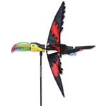Toucan Garden Spinner with wings that spin in a gentle breeze. All hardware included.