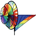 Rainbow Triple Garden Spinner with three wheels that spin in a gentle breeze. All hardware included.