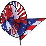 Patriotic Triple Garden Spinner with three wheels that spin in a gentle breeze. All hardware included.
