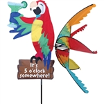 Island Parrot sitting on a sign stating It's 5:00 Somewhere! with wings that spin in a gentle breeze. All hardware included.