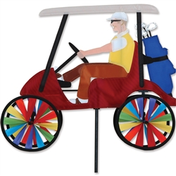 17 Inch Red Golf Cart showing a man and golf clubs with wheels that spin in a gentle breeze. All hardware included.