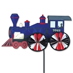 Blue Steam Engine Large Garden Spinner with wheels that spin in a gentle breeze. All hardware included.