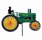 Small Old Green Tractor Garden Spinner with wheels that spin in a gentle breeze. All hardware included.
