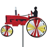 Small Old Red Tractor Garden Spinner with wheels that spin in a gentle breeze. All hardware included.