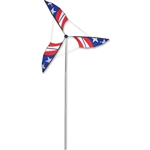 Approximately 10 1/2 tall Patriotic Wind Generator that spins in a gentle breeze. All hardware included.